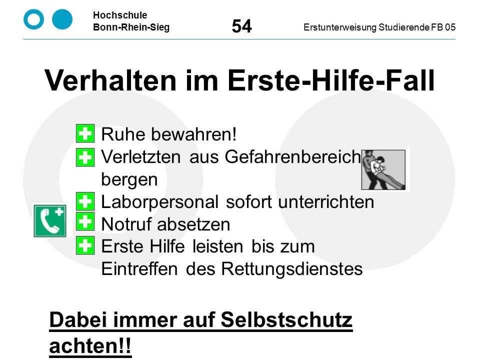 Hochschule Bonn-Rhein-SiegErstunterweisung Studierende FB 05 54 Verhalten im Erste-Hilfe-Fall Ruhe bewahren! Verletzten aus Gefahrenbereich bergen Lab