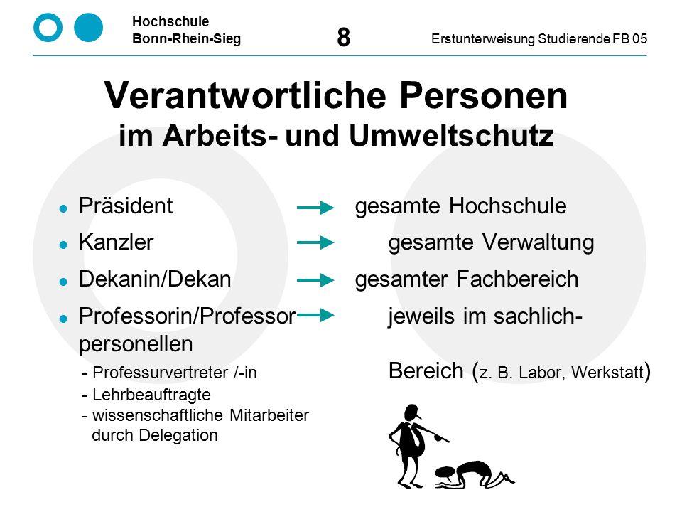 Hochschule Bonn-Rhein-SiegErstunterweisung Studierende FB 05 8 Verantwortliche Personen im Arbeits- und Umweltschutz Präsident gesamte Hochschule Kanz