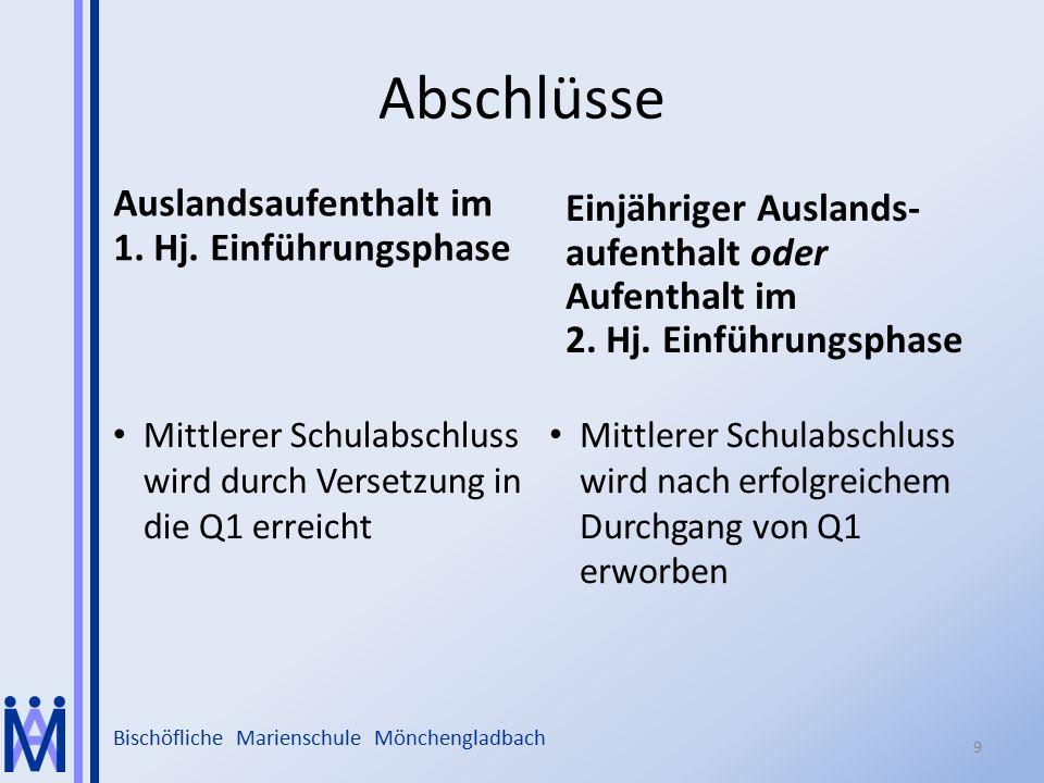 Bischöfliche Marienschule Mönchengladbach Abschlüsse Auslandsaufenthalt im 1. Hj. Einführungsphase Einjähriger Auslands- aufenthalt oder Aufenthalt im