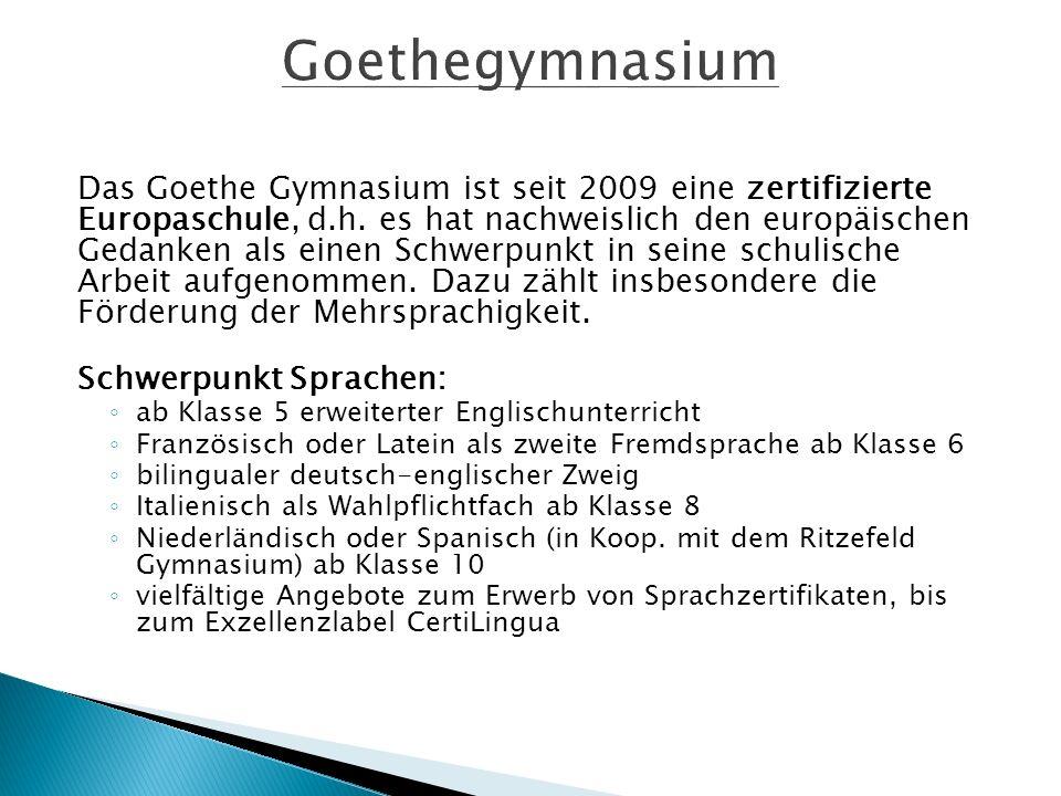 Das Goethe Gymnasium ist seit 2009 eine zertifizierte Europaschule, d.h.