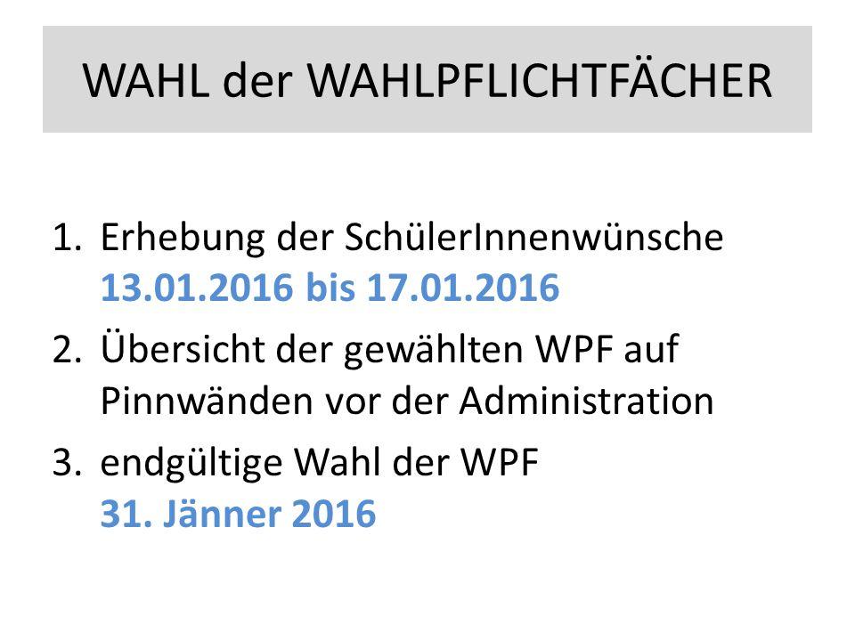 WAHL der WAHLPFLICHTFÄCHER 1.Erhebung der SchülerInnenwünsche 13.01.2016 bis 17.01.2016 2.Übersicht der gewählten WPF auf Pinnwänden vor der Administration 3.endgültige Wahl der WPF 31.