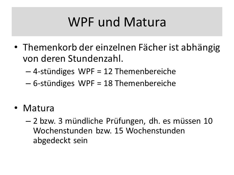 WPF und Matura Themenkorb der einzelnen Fächer ist abhängig von deren Stundenzahl.