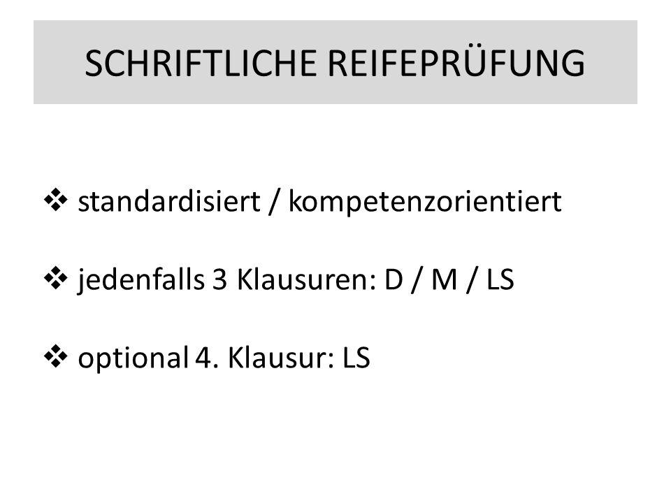 SCHRIFTLICHE REIFEPRÜFUNG  standardisiert / kompetenzorientiert  jedenfalls 3 Klausuren: D / M / LS  optional 4.