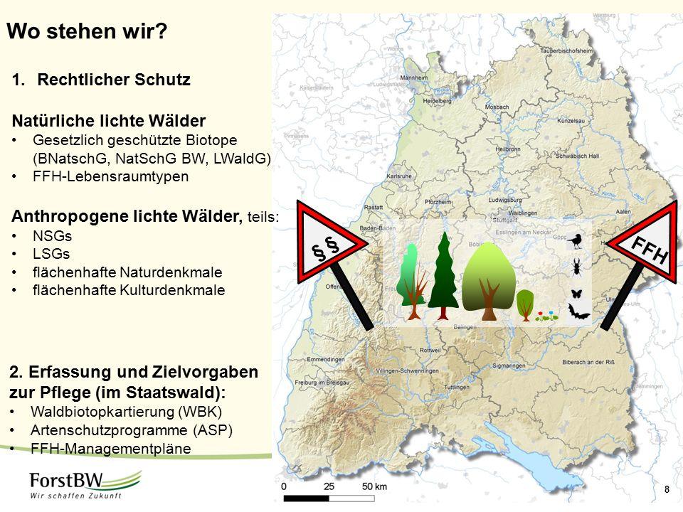 1 Wo stehen wir? 8 1.Rechtlicher Schutz Natürliche lichte Wälder Gesetzlich geschützte Biotope (BNatschG, NatSchG BW, LWaldG) FFH-Lebensraumtypen Anth