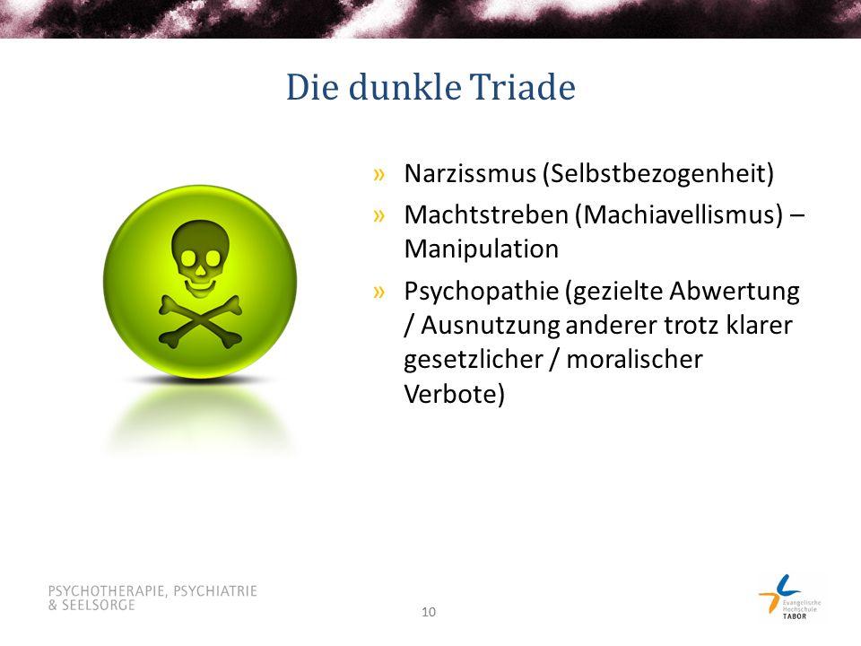 10 Die dunkle Triade »Narzissmus (Selbstbezogenheit) »Machtstreben (Machiavellismus) – Manipulation »Psychopathie (gezielte Abwertung / Ausnutzung and