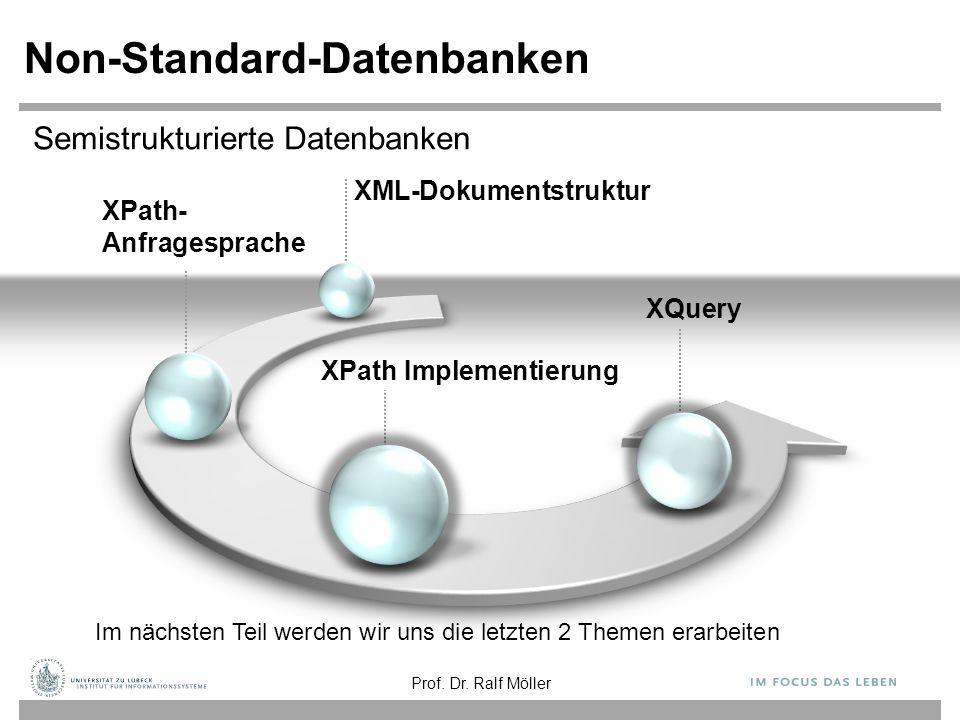 XPath- Anfragesprache Non-Standard-Datenbanken XPath Implementierung XQuery Im nächsten Teil werden wir uns die letzten 2 Themen erarbeiten XML-Dokumentstruktur Prof.