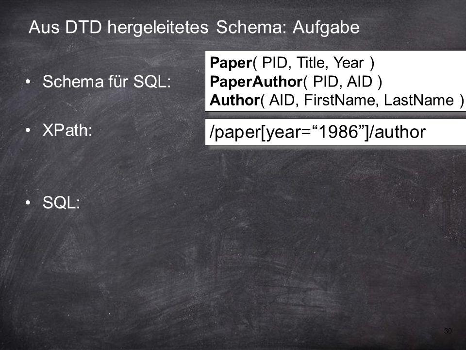 30 Aus DTD hergeleitetes Schema: Aufgabe Schema für SQL: XPath: SQL: /paper[year= 1986 ]/author Paper( PID, Title, Year ) PaperAuthor( PID, AID ) Author( AID, FirstName, LastName ) Paper( PID, Title, Year ) PaperAuthor( PID, AID ) Author( AID, FirstName, LastName )