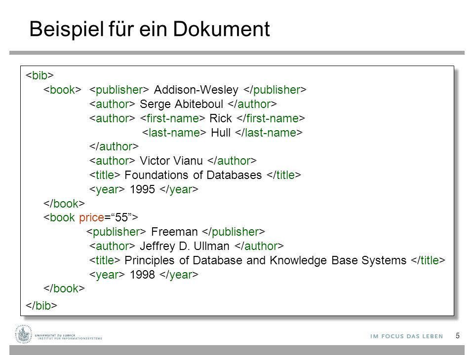 Beispiel für ein Dokument Addison-Wesley Serge Abiteboul Rick Hull Victor Vianu Foundations of Databases 1995 Freeman Jeffrey D. Ullman Principles of