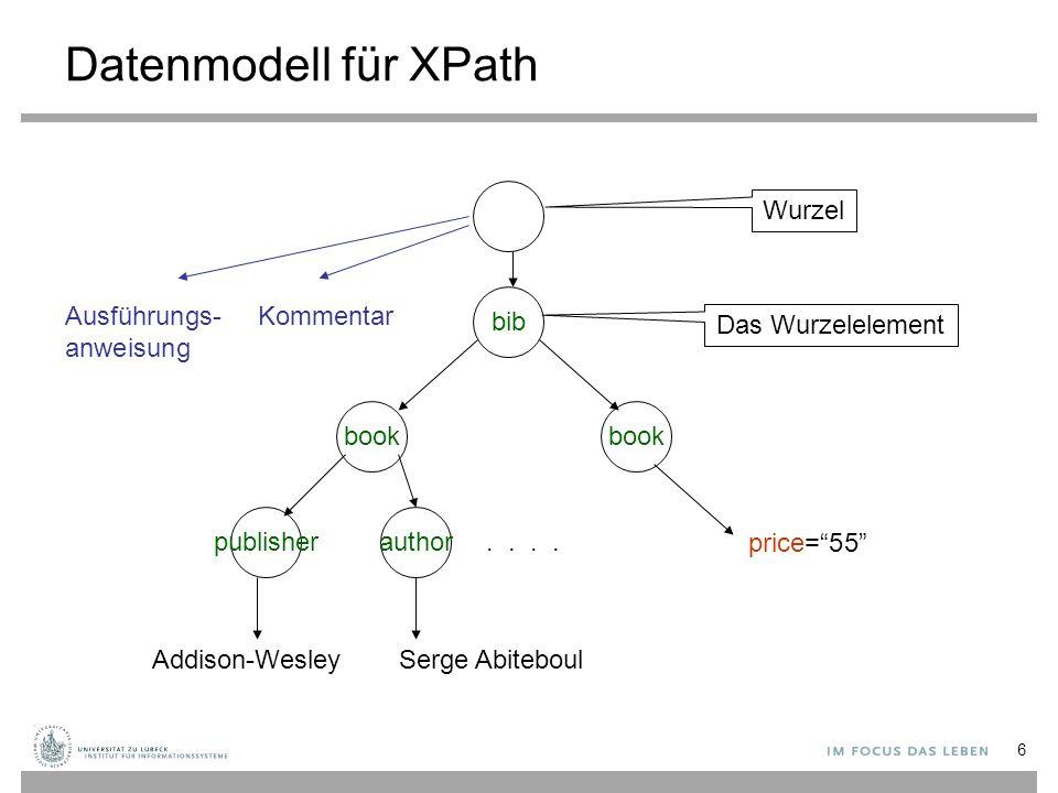 Die Auswertung eines Pfadausdrucks P (geschrieben [P]) gibt eine Menge von Knoten in einem XML-Baum T zurück, die über P von der Wurzel des Baums T erreichbar sind.