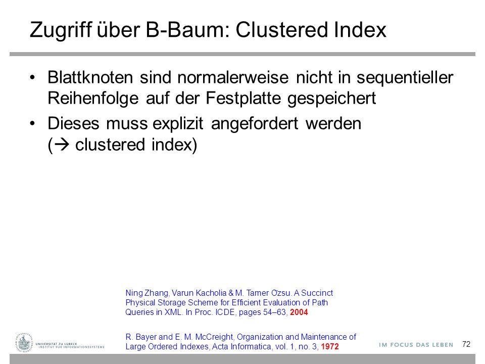 Zugriff über B-Baum: Clustered Index Blattknoten sind normalerweise nicht in sequentieller Reihenfolge auf der Festplatte gespeichert Dieses muss explizit angefordert werden (  clustered index) 72 Ning Zhang, Varun Kacholia & M.