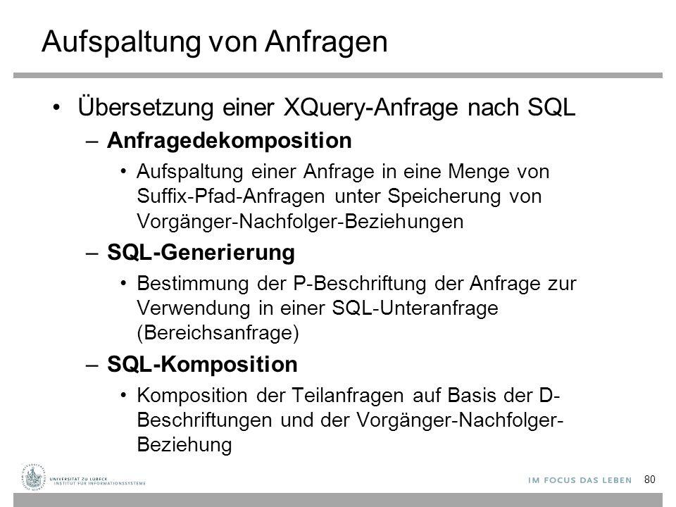 Übersetzung einer XQuery-Anfrage nach SQL –Anfragedekomposition Aufspaltung einer Anfrage in eine Menge von Suffix-Pfad-Anfragen unter Speicherung von Vorgänger-Nachfolger-Beziehungen –SQL-Generierung Bestimmung der P-Beschriftung der Anfrage zur Verwendung in einer SQL-Unteranfrage (Bereichsanfrage) –SQL-Komposition Komposition der Teilanfragen auf Basis der D- Beschriftungen und der Vorgänger-Nachfolger- Beziehung Aufspaltung von Anfragen 80