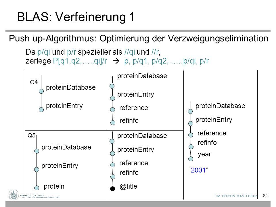 Push up-Algorithmus: Optimierung der Verzweigungselimination protein proteinDatabase proteinEntry Q4 Q5 proteinDatabase proteinEntry reference proteinDatabase proteinEntry refinfo reference proteinDatabase proteinEntry refinfo @title reference proteinDatabase proteinEntry refinfo year 2001 zerlege P[q1,q2,….,qi]/r  p, p/q1, p/q2, …..p/qi, p/r Da p/qi und p/r spezieller als //qi und //r, BLAS: Verfeinerung 1 84