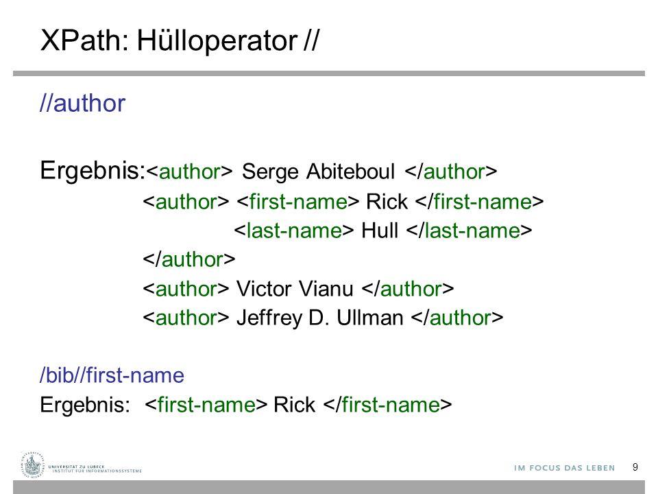 XPath: Hülloperator // //author Ergebnis: Serge Abiteboul Rick Hull Victor Vianu Jeffrey D.