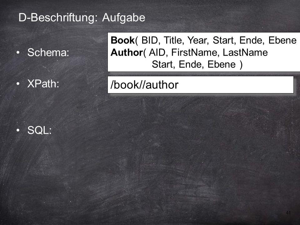 41 D-Beschriftung: Aufgabe Schema: XPath: SQL: /book//author Book( BID, Title, Year, Start, Ende, Ebene ) Author( AID, FirstName, LastName Start, Ende