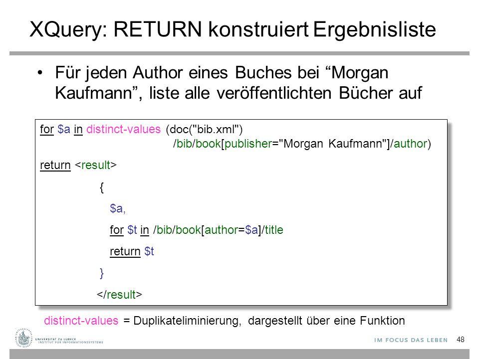 """XQuery: RETURN konstruiert Ergebnisliste Für jeden Author eines Buches bei """"Morgan Kaufmann"""", liste alle veröffentlichten Bücher auf for $a in distinc"""