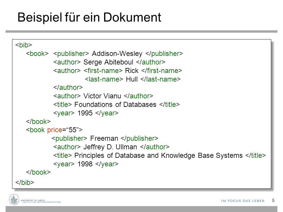 Beispiel für ein Dokument Addison-Wesley Serge Abiteboul Rick Hull Victor Vianu Foundations of Databases 1995 Freeman Jeffrey D. Ullman Principles of