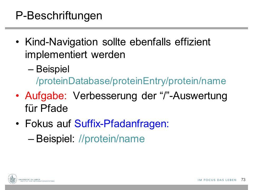 """Kind-Navigation sollte ebenfalls effizient implementiert werden –Beispiel /proteinDatabase/proteinEntry/protein/name Aufgabe: Verbesserung der """"/""""-Aus"""