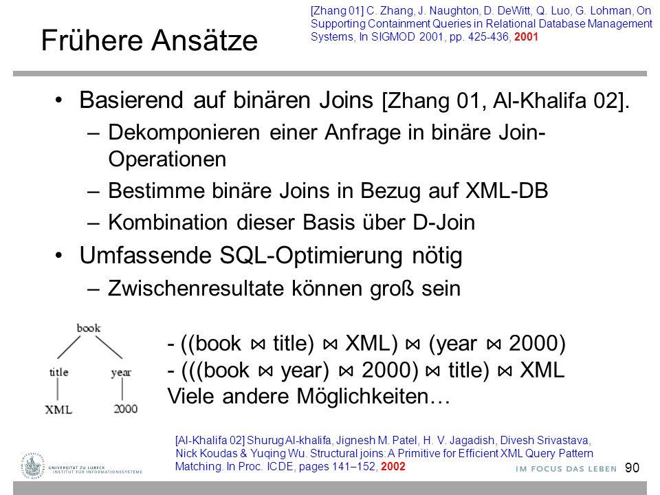 90 Frühere Ansätze Basierend auf binären Joins [Zhang 01, Al-Khalifa 02]. –Dekomponieren einer Anfrage in binäre Join- Operationen –Bestimme binäre Jo