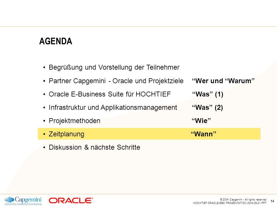CE v5.5 © 2004 Capgemini - All rights reserved HOCHTIEF ORACLE-EBS PRÄSENTATION 2004-09-21.PPT 14 AGENDA Begrüßung und Vorstellung der Teilnehmer Partner Capgemini - Oracle und Projektziele Wer und Warum Oracle E-Business Suite für HOCHTIEF Was (1) Infrastruktur und Applikationsmanagement Was (2) Projektmethoden Wie Zeitplanung Wann Diskussion & nächste Schritte
