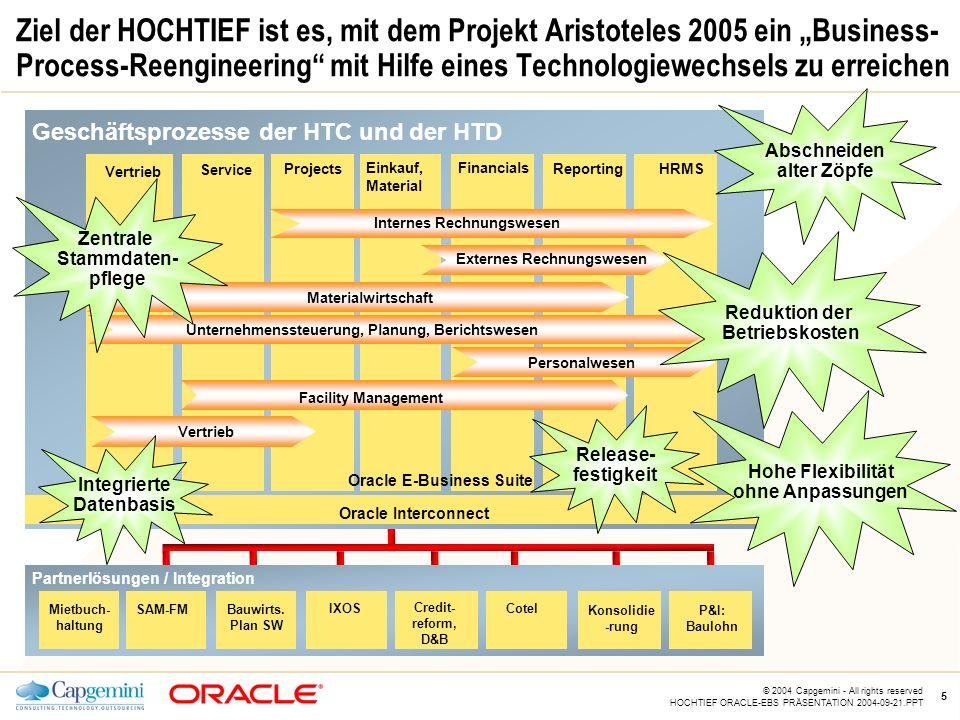 """CE v5.5 © 2004 Capgemini - All rights reserved HOCHTIEF ORACLE-EBS PRÄSENTATION 2004-09-21.PPT 5 Ziel der HOCHTIEF ist es, mit dem Projekt Aristoteles 2005 ein """"Business- Process-Reengineering mit Hilfe eines Technologiewechsels zu erreichen Externes Rechnungswesen Personalwesen Oracle Interconnect CotelIXOS Credit- reform, D&B Konsolidie -rung P&I: Baulohn Service Vertrieb Einkauf, Material Projects Financials ReportingHRMS Internes Rechnungswesen Bauwirts."""