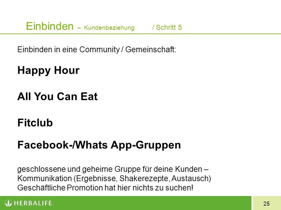 25 Einbinden in eine Community / Gemeinschaft: Happy Hour All You Can Eat Fitclub Facebook-/Whats App-Gruppen geschlossene und geheime Gruppe für deine Kunden – Kommunikation (Ergebnisse, Shakerezepte, Austausch) Geschäftliche Promotion hat hier nichts zu suchen.
