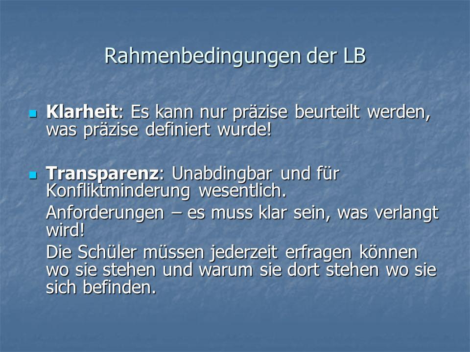 Rahmenbedingungen der LB Klarheit: Es kann nur präzise beurteilt werden, was präzise definiert wurde.