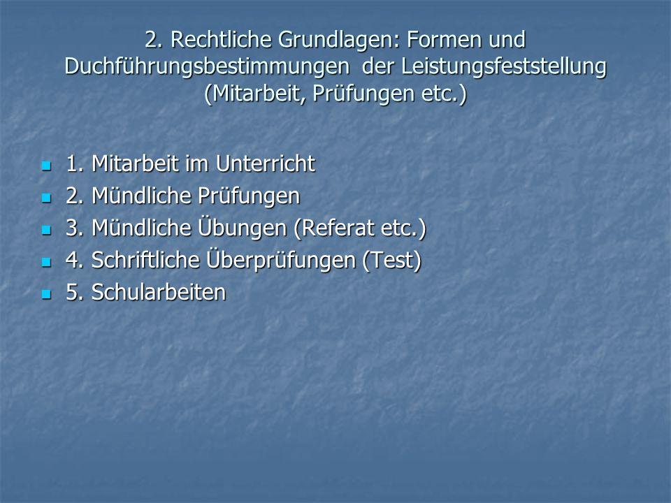 2. Rechtliche Grundlagen: Formen und Duchführungsbestimmungen der Leistungsfeststellung (Mitarbeit, Prüfungen etc.) 1. Mitarbeit im Unterricht 1. Mita