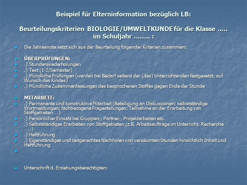 Beispiel für Elterninformation bezüglich LB: Beurteilungskriterien BIOLOGIE/UMWELTKUNDE für die Klasse …..