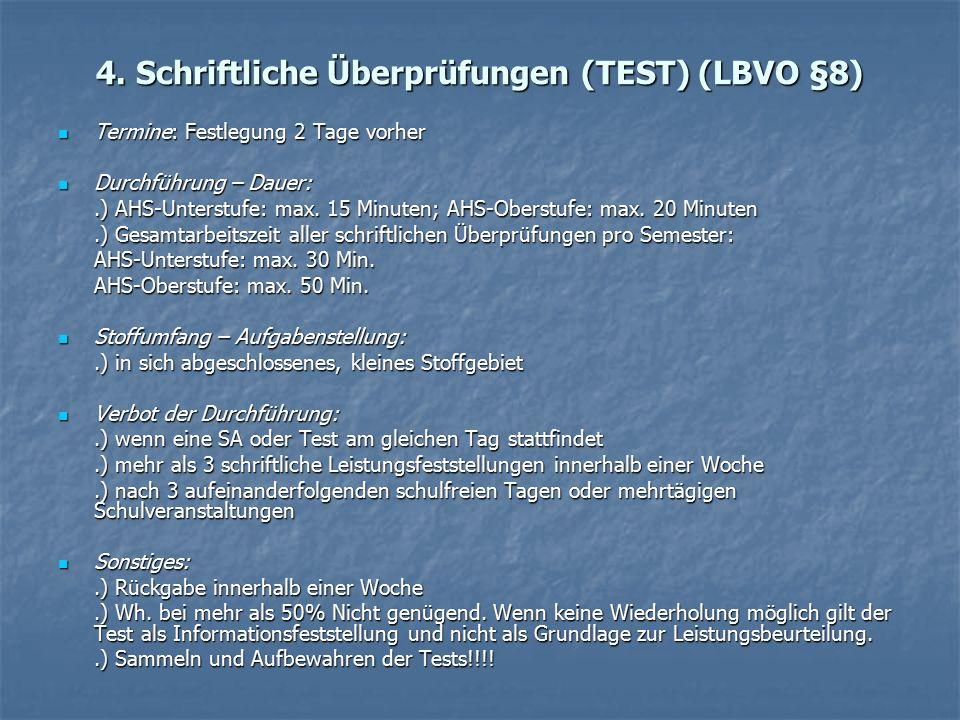 4. Schriftliche Überprüfungen (TEST) (LBVO §8) Termine: Festlegung 2 Tage vorher Termine: Festlegung 2 Tage vorher Durchführung – Dauer: Durchführung