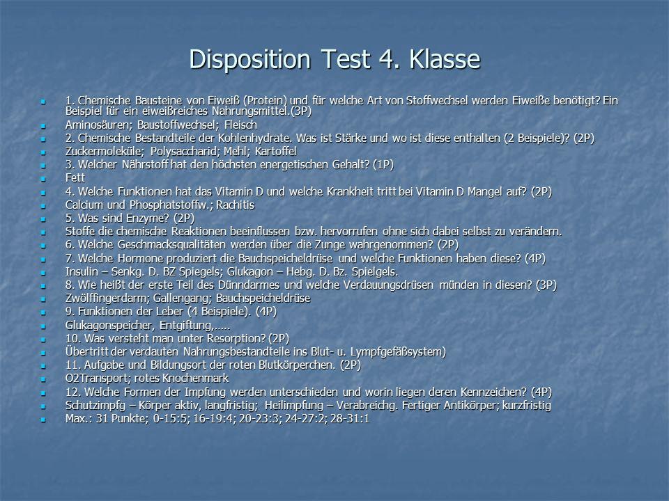 Disposition Test 4. Klasse 1. Chemische Bausteine von Eiweiß (Protein) und für welche Art von Stoffwechsel werden Eiweiße benötigt? Ein Beispiel für e