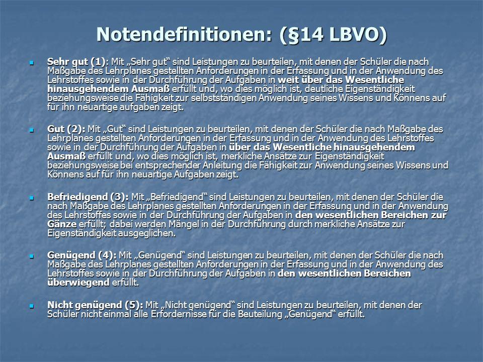 """Notendefinitionen: (§14 LBVO) Sehr gut (1): Mit """"Sehr gut"""" sind Leistungen zu beurteilen, mit denen der Schüler die nach Maßgabe des Lehrplanes gestel"""