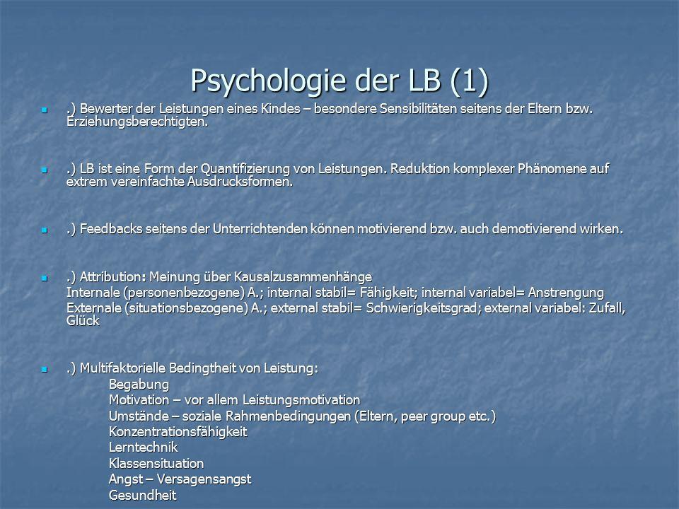 Psychologie der LB (1).) Bewerter der Leistungen eines Kindes – besondere Sensibilitäten seitens der Eltern bzw. Erziehungsberechtigten..) Bewerter de