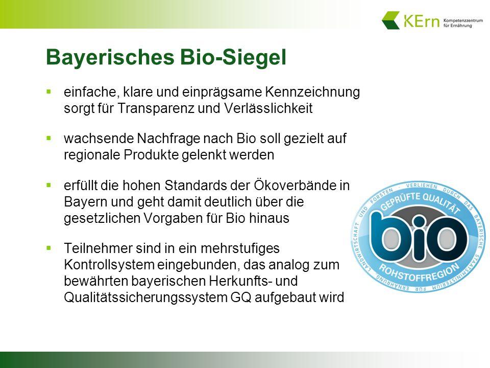 Bayerisches Bio-Siegel  einfache, klare und einprägsame Kennzeichnung sorgt für Transparenz und Verlässlichkeit  wachsende Nachfrage nach Bio soll gezielt auf regionale Produkte gelenkt werden  erfüllt die hohen Standards der Ökoverbände in Bayern und geht damit deutlich über die gesetzlichen Vorgaben für Bio hinaus  Teilnehmer sind in ein mehrstufiges Kontrollsystem eingebunden, das analog zum bewährten bayerischen Herkunfts- und Qualitätssicherungssystem GQ aufgebaut wird