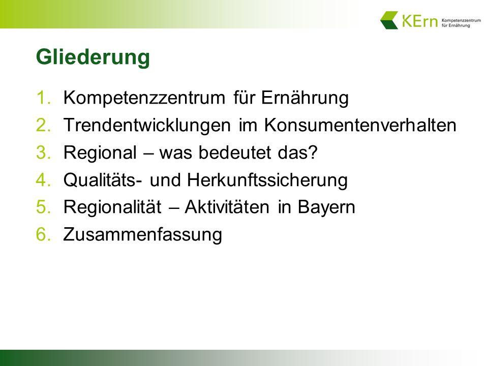 Gliederung 1.Kompetenzzentrum für Ernährung 2.Trendentwicklungen im Konsumentenverhalten 3.Regional – was bedeutet das.