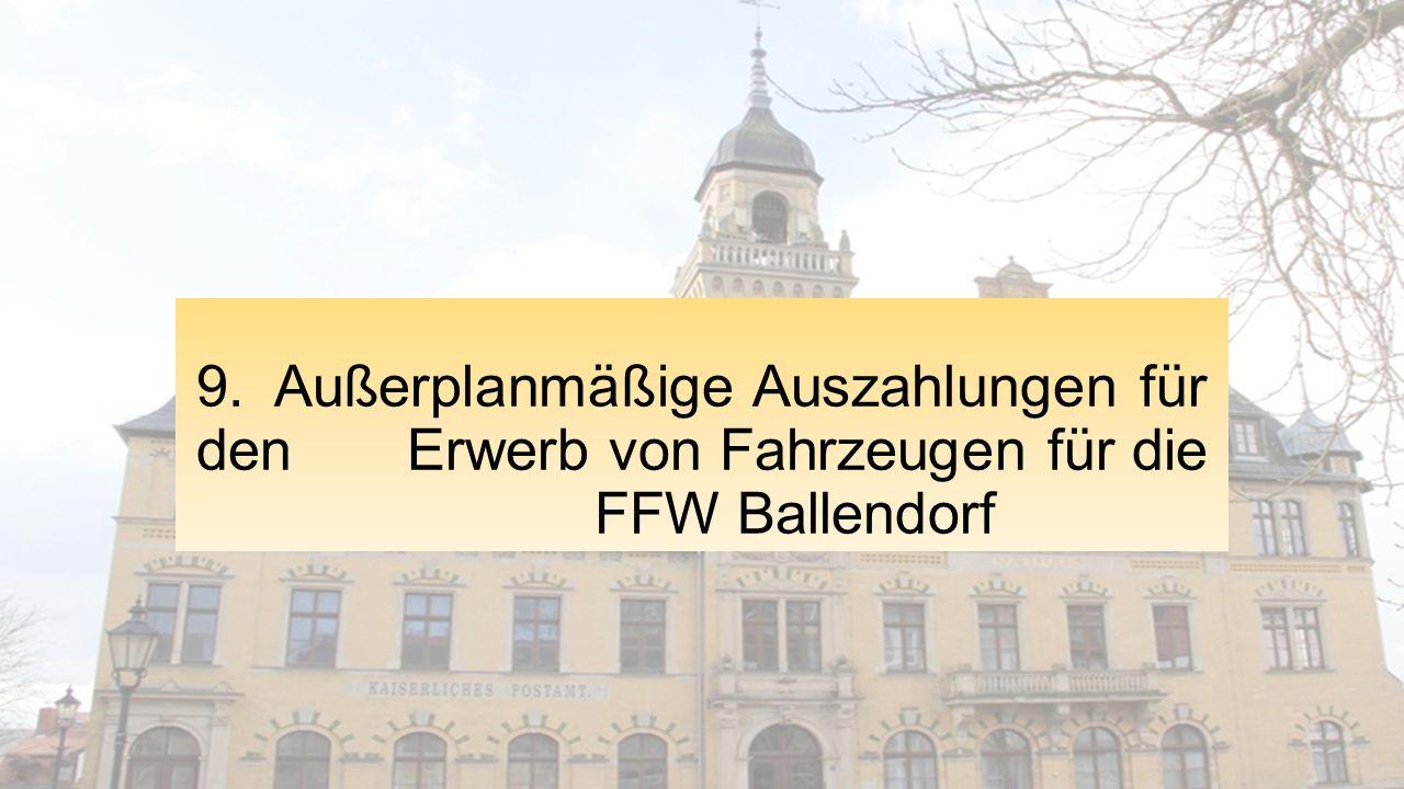 9. Außerplanmäßige Auszahlungen für den Erwerb von Fahrzeugen für die FFW Ballendorf