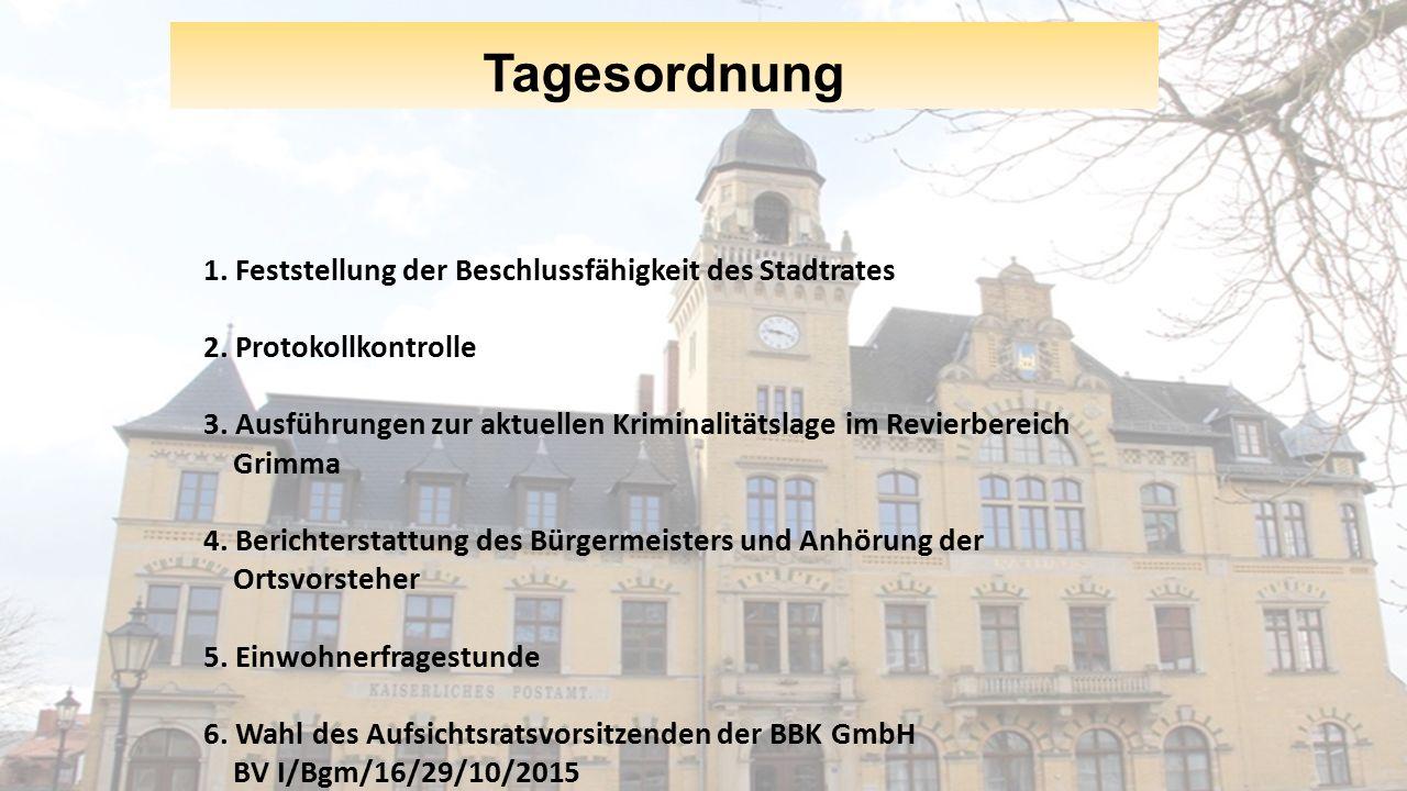 Tagesordnung 1. Feststellung der Beschlussfähigkeit des Stadtrates 2.