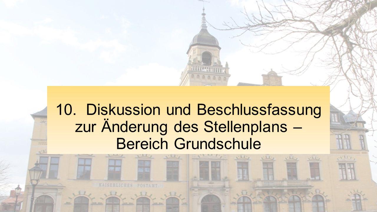 10. Diskussion und Beschlussfassung zur Änderung des Stellenplans – Bereich Grundschule