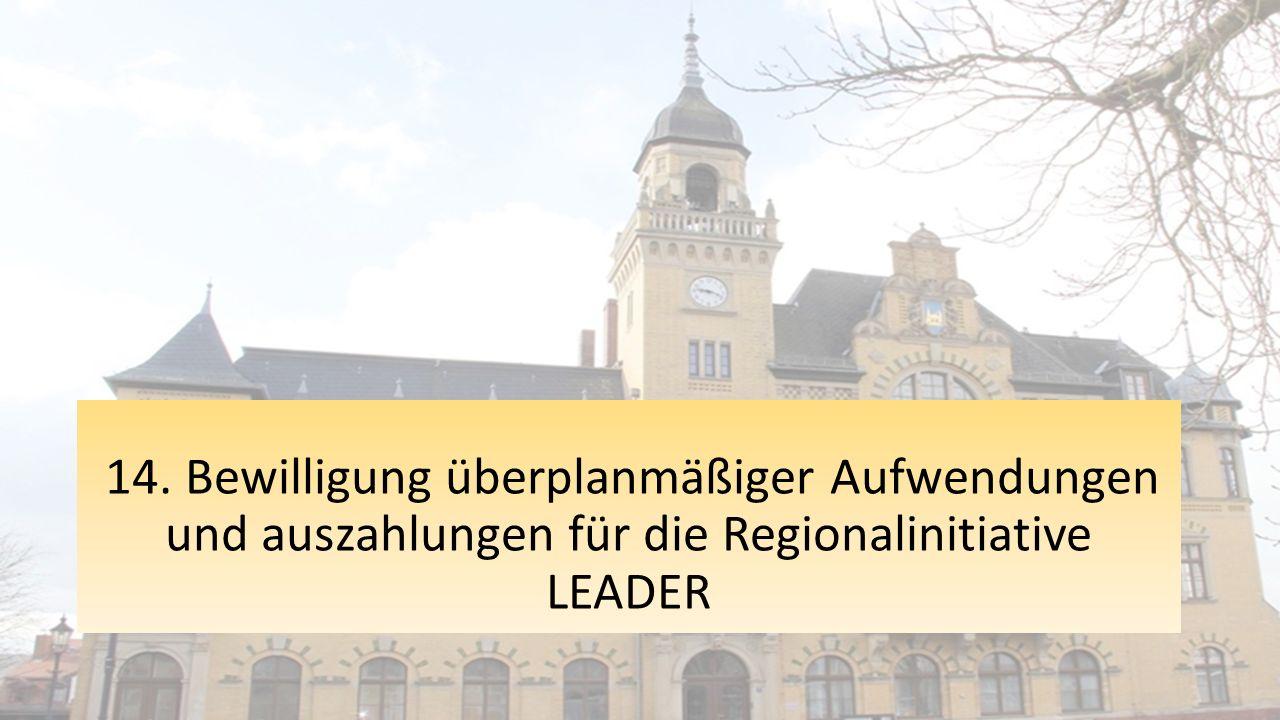 14. Bewilligung überplanmäßiger Aufwendungen und auszahlungen für die Regionalinitiative LEADER