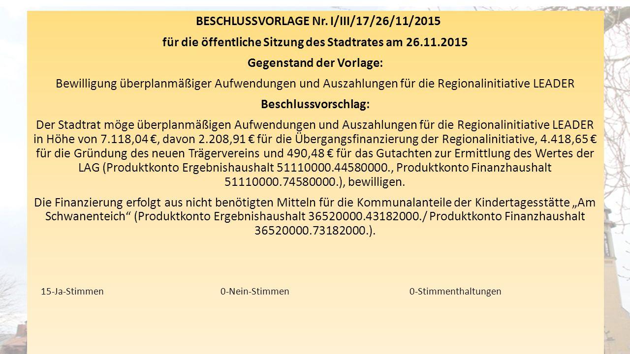 BESCHLUSSVORLAGE Nr. I/III/17/26/11/2015 für die öffentliche Sitzung des Stadtrates am 26.11.2015 Gegenstand der Vorlage: Bewilligung überplanmäßiger