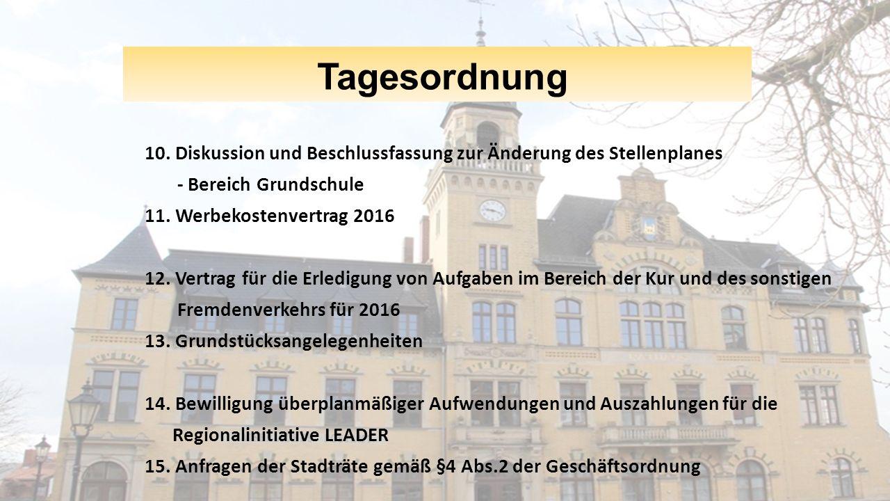 Tagesordnung 10. Diskussion und Beschlussfassung zur Änderung des Stellenplanes - Bereich Grundschule 11. Werbekostenvertrag 2016 12. Vertrag für die