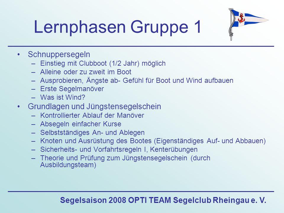 Segelsaison 2008 OPTI TEAM Segelclub Rheingau e. V. Lernphasen Gruppe 1 Schnuppersegeln –Einstieg mit Clubboot (1/2 Jahr) möglich –Alleine oder zu zwe