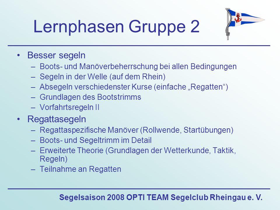 Segelsaison 2008 OPTI TEAM Segelclub Rheingau e. V. Lernphasen Gruppe 2 Besser segeln –Boots- und Manöverbeherrschung bei allen Bedingungen –Segeln in