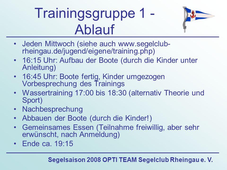 Segelsaison 2008 OPTI TEAM Segelclub Rheingau e. V. Trainingsgruppe 1 - Ablauf Jeden Mittwoch (siehe auch www.segelclub- rheingau.de/jugend/eigene/tra