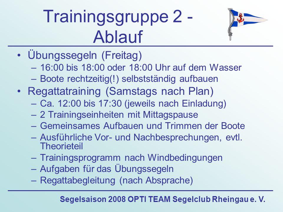 Segelsaison 2008 OPTI TEAM Segelclub Rheingau e. V. Trainingsgruppe 2 - Ablauf Übungssegeln (Freitag) –16:00 bis 18:00 oder 18:00 Uhr auf dem Wasser –