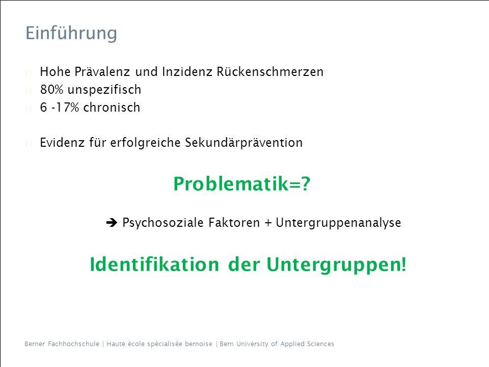 Berner Fachhochschule | Haute école spécialisée bernoise | Bern University of Applied Sciences 14 StarT-GSTarT Patients adressed 74244 Responders 50 (68%)131 (54%) Female 48%60% Age 46 (14.5)44 (10) StarT Total Score 3.5 (1.9)4.4 (2.6) Subscore 1.5 (1.3)2.2 (1.6) Low risk 57%41% Medium risk 35%34% High risk 8%25% Comorbid pain 42%48% Referred pain 58%57% Mean TSK 34.5 (6.8)40.8 (7.6) Mean PCS 18.6 (10.2)18.9 (12.5) Mean RMDQ 6.4 (4.4)8.6 (6.6) Pain – 1month 18%25% 1-3m 34%15% 4-6m 8%12% >6m 40%48% Resultate 2.) Psychometrische Validation / Interpretabilität