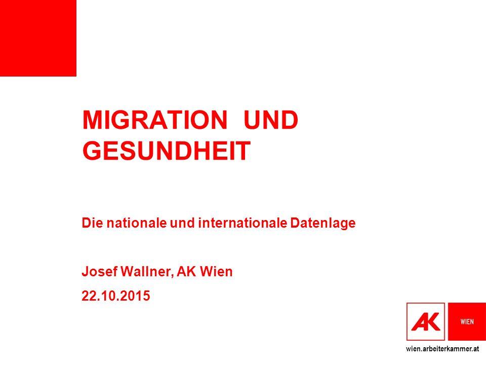 wien.arbeiterkammer.at MIGRATION UND GESUNDHEIT Die nationale und internationale Datenlage Josef Wallner, AK Wien 22.10.2015