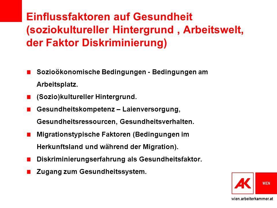 wien.arbeiterkammer.at Einflussfaktoren auf Gesundheit (soziokultureller Hintergrund, Arbeitswelt, der Faktor Diskriminierung) Sozioökonomische Bedingungen - Bedingungen am Arbeitsplatz.
