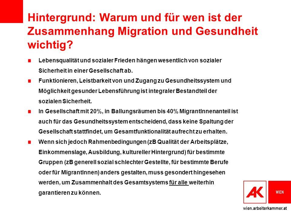 wien.arbeiterkammer.at Migration in Österreich (Exkurs: Asylmigration in Österreich und EU) und ihre Bedeutung 20 % der Bevölkerung hat Migrationshintergrund.