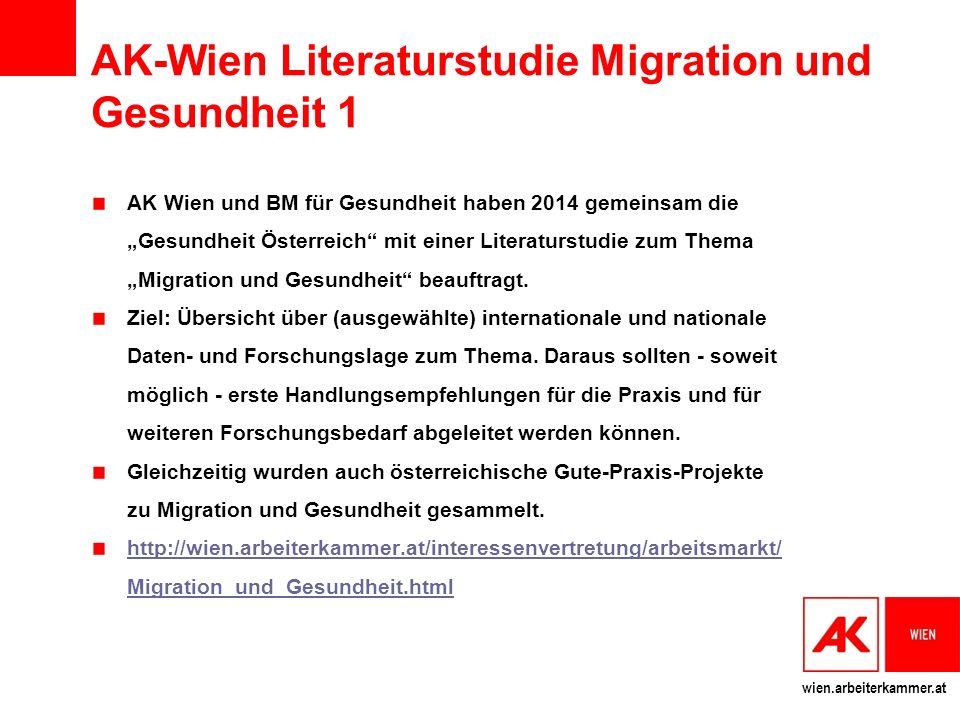 """wien.arbeiterkammer.at AK-Wien Literaturstudie Migration und Gesundheit 1 AK Wien und BM für Gesundheit haben 2014 gemeinsam die """"Gesundheit Österreich mit einer Literaturstudie zum Thema """"Migration und Gesundheit beauftragt."""