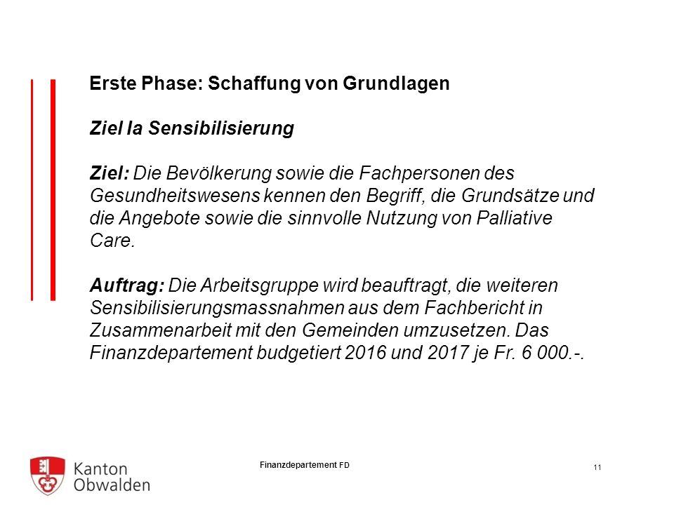 Finanzdepartement FD Erste Phase: Schaffung von Grundlagen Ziel Ia Sensibilisierung Ziel: Die Bevölkerung sowie die Fachpersonen des Gesundheitswesens kennen den Begriff, die Grundsätze und die Angebote sowie die sinnvolle Nutzung von Palliative Care.